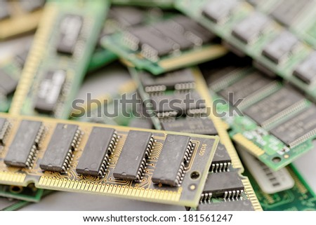 Many different computer memory modules (RAM, SD, DDR, EPROM) - stock photo