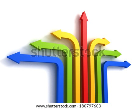many different directions colorful arrows over white wall. individual way for success. 3d render concept illustration - stock photo