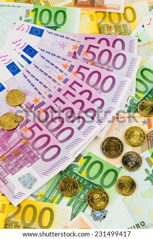 many different euro bills. photo icon for wealth and investment. - stock photo
