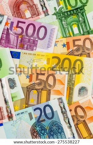 many different euro bills. symbolic photo for wealth and investment. - stock photo