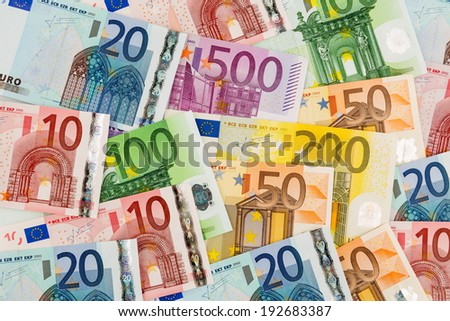 many different euro bills. symbolic photo for wealth and investments. - stock photo