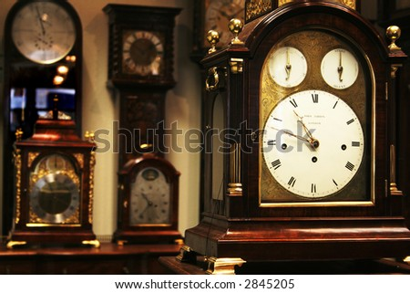 Many different old clocks - stock photo
