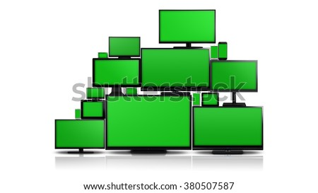 Many different types of screens. TVs, computer monitors, smartphones and tablets. They laid on each other in a pile isolated on a white background. They are all with a green screen. - stock photo