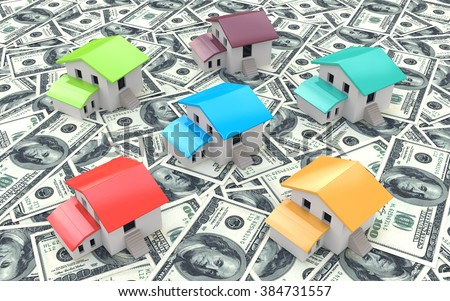 Many dollar banknotes and models of houses, concept of buying a house in the design of information related to the purchase of real estate - stock photo