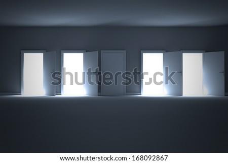 Many doors opening revealing light - stock photo