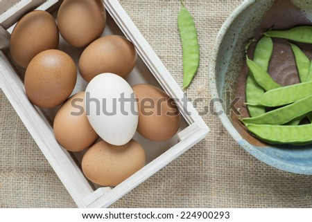 Many eggs in box isolated on white - stock photo