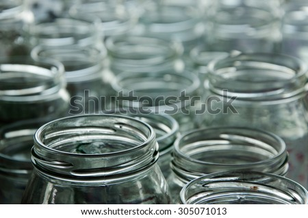 many empty jars for home-made preserves - stock photo