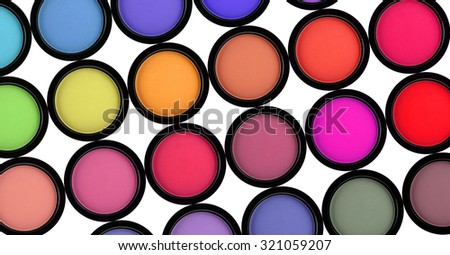 many eyeshadows on white background - stock photo