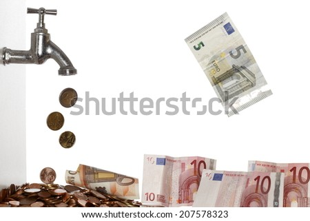 many falling coins and banknotes on white background - stock photo