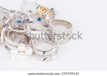 Many fashionable women's jewelry - Stock Image macro. - stock photo