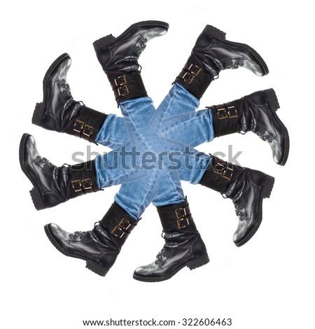 many feet - stock photo