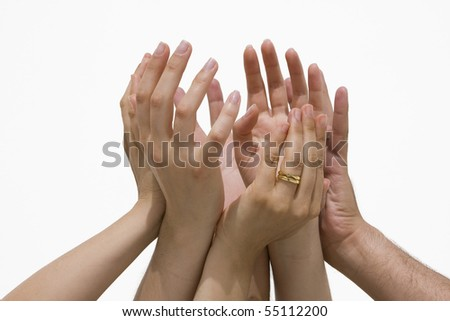 Many female and male hands symbolizing the union / cooperation /success... - stock photo