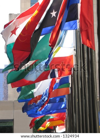 Many flag of different colors - stock photo