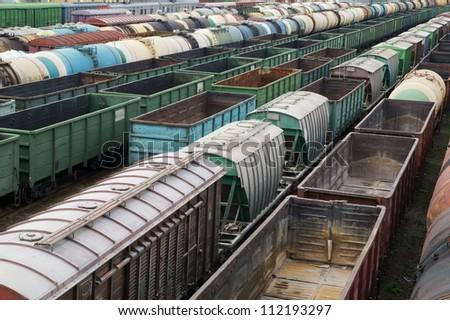 Many freight trains - stock photo