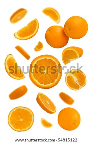Many fresh juicy oranges on white background - stock photo