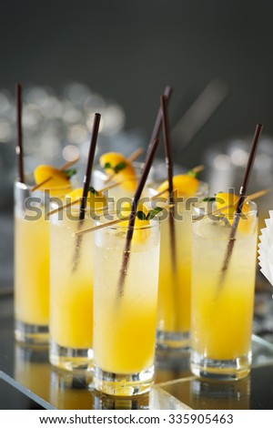 Many Fresh mango cocktail - stock photo