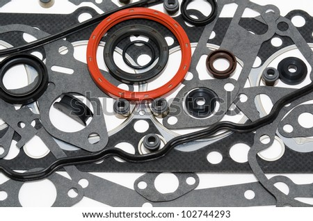 many gaskets - a kit for car motor engines - stock photo