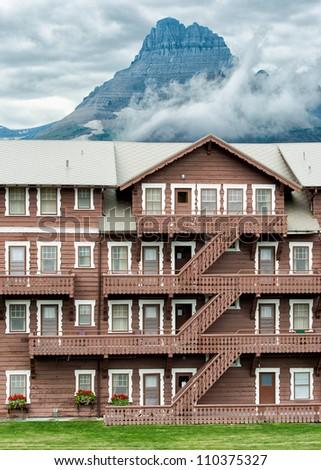 Many Glacier Hotel in Glacier National Park, Montana - stock photo
