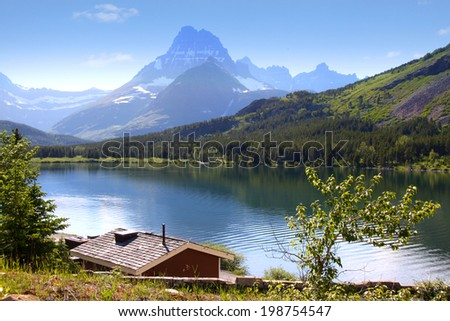 Many Glaciers scenic recreation area in Glacier national park - stock photo