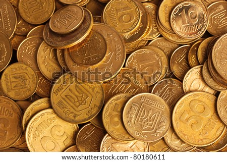 many gold coins - stock photo