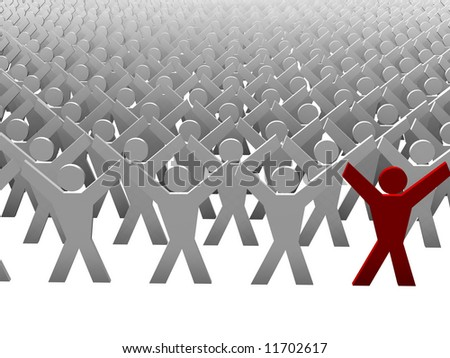 Many gray people with one red - stock photo