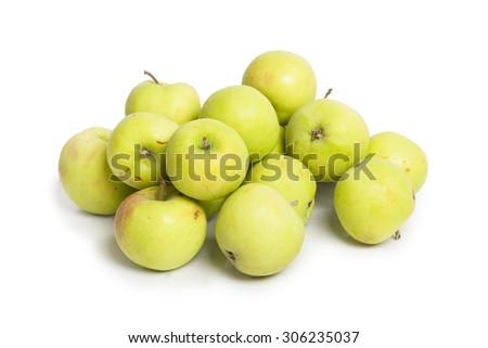 Many green apples isolated on white background - stock photo