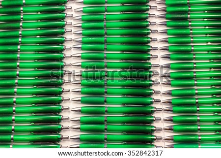 Many green pens - stock photo