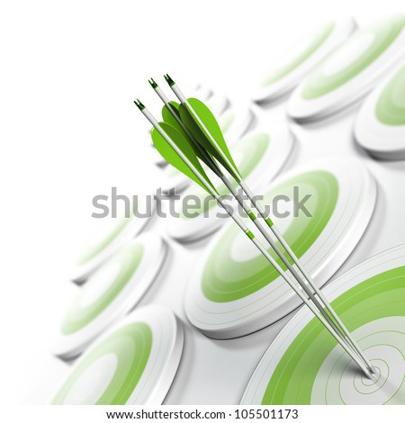 many green targets and three arrows reaching the center of objective, image fading from green to white with blur effect, square format. Strategic marketing or business competitive advantage concept. - stock photo
