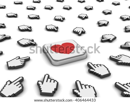 Many hand cursors mouse clicking red heart button or link isolated on white background.3D rendering. - stock photo