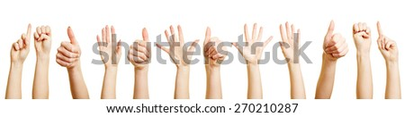 Many hands and fists doing different hand gestures - stock photo