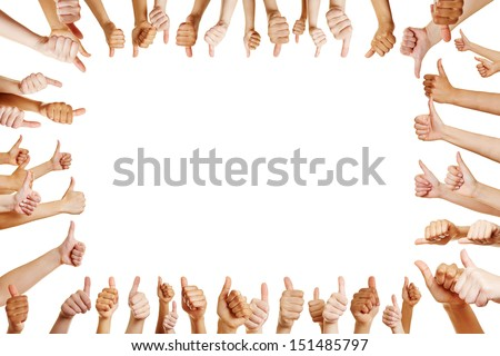 Many hands congratulate a winner with thumbs up sign - stock photo