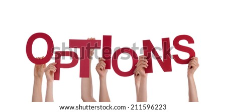 Many Hands Holding Options, On White - stock photo