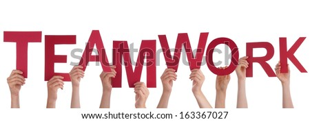 Many Hands Holding the Red Letters Teamwork, Isolated - stock photo