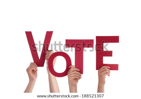 Many Hands Holding the Red Word Vote, Isolated - stock photo