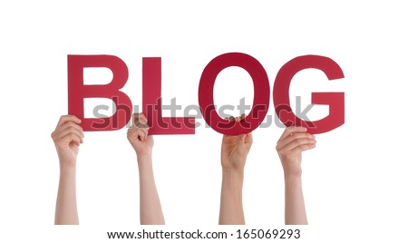 Many Hands Holding the Word Blog, Isolated - stock photo