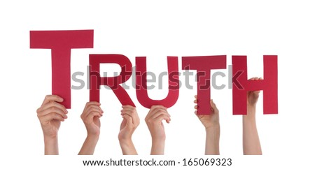 Many Hands Holding the Word Truth, Isolated - stock photo