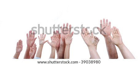 Many hands on white - stock photo