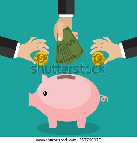 Many hands putting coin and money into piggy bank - stock photo