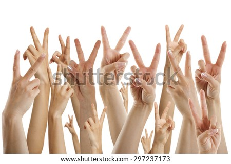 many hands showing victory sign, isolated on white - stock photo