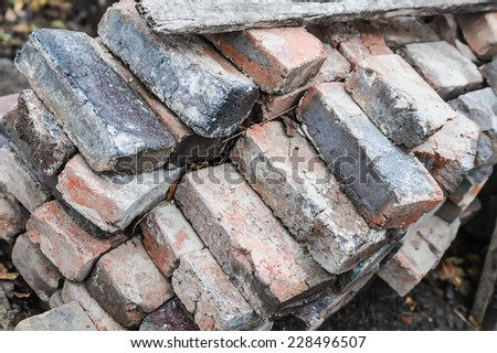 many heap of old damaged brick - stock photo