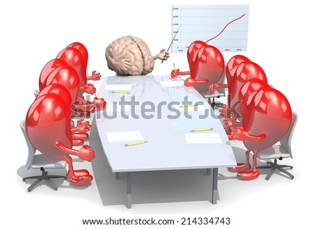 many hearts meeting around the table and follow their boss, the brain - stock photo