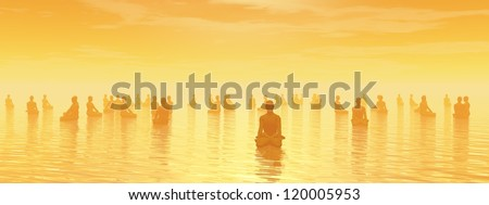 Many human beings meditating together by sunset - stock photo