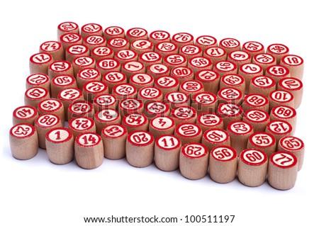 Many kegs for bingo isolated on white background - stock photo