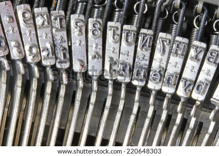 many letters of the mechanical typewriter from the last century - stock photo