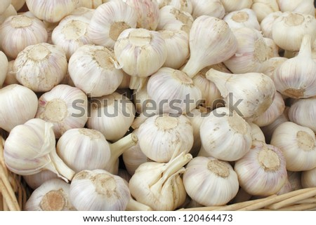 Many loose heads of white purple garlic for sale in a basket display at an outdoor market. - stock photo