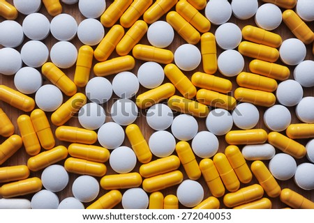 many medicines or vitamins tablets - stock photo