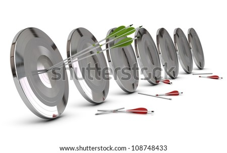 many metallic targets and three green arrows hitting the center of the first one, red arrows are broken at the background, horizontal image - stock photo