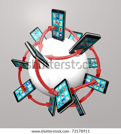 Many modern smart phones with apps on their touch screens around a global communication network, connected by arrows symbolizing networking - stock photo