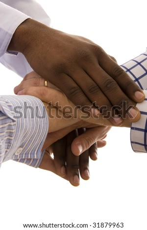 Many multiracial hands together isolated on white - stock photo