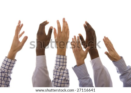 Many multiracial hands up isolated on white - stock photo